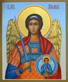 Рукописная икона Архангел Михаил резьба купить с доставкой