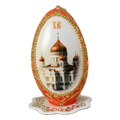 Пасхальная свеча большая Храм ручная работа купить с доставкой