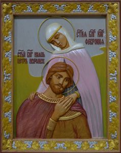 Резная икона Петр и Феврония Муромские 7