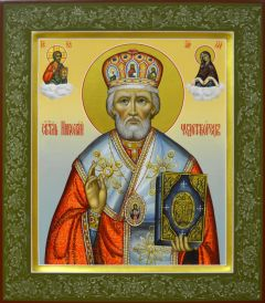 Рукописная икона Николай Чудотворец с Предстоящими купить с доставкой