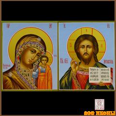 Рукописная венчальная пара Казанская икона-Спас Вседержитель купить с доставкой