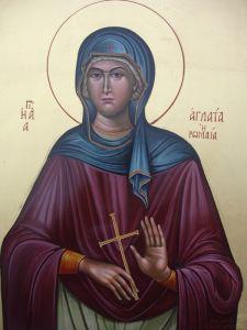 Рукописная икона Аглаида Римская праведная купить с доставкой