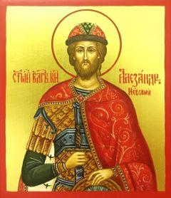 Рукописная икона Александр Невский маленькая купить с доставкой