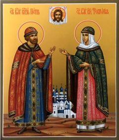 Рукописная икона Петр и Феврония Муромские купить с доставкой