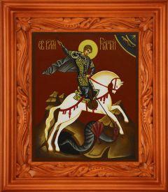 Рукописная икона Георгий Победоносец на коне купить с доставкой