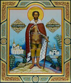 Рукописная икона князь Александр Невский купить с доставкой
