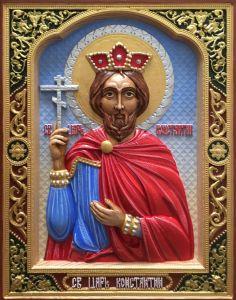 Резная икона Константин равноапостольный купить с доставкой