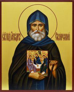Рукописная икона Александр Свирский купить с доставкой
