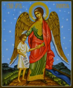 Рукописная икона Ангел с Душой Человека купить с доставкой