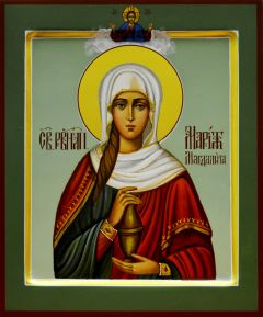 Рукописная икона Мария Магдалина с ковчегом купить с доставкой