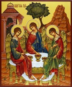 Рукописная икона Святая Троица купить с доставкой