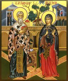 Рукописная икона Киприан и Иустина купить с доставкой