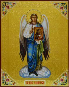 Рукописная икона Ангел Хранитель с иконой Иверская купить с доставкой