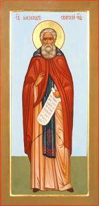 Рукописная икона Святой Александр Свирский купить с доставкой