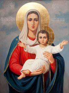 Рукописная икона Леушинская купить с доставкой