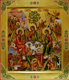 Рукописная икона Ветхозаветная Троица с житийными клеймами