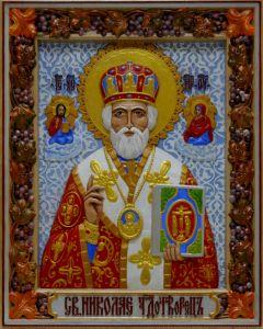 Резная икона Николай Чудотворец