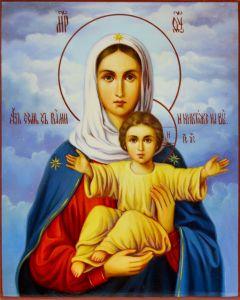 Рукописная икона Леушинская Азъ Есмь с Вами масло