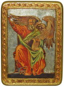 Икона ручной работы Святой Апостол Иоанн Богослов, с натуральными камнями купить с доставкой