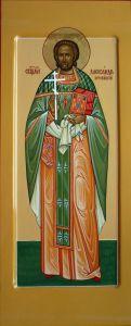 Рукописная икона Святой Александр Хотовицкий купить с доставкой