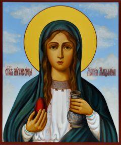 Рукописная икона Мария Магдалина живопись 3