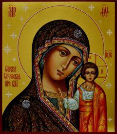 Рукописная икона Казанская живопись 5