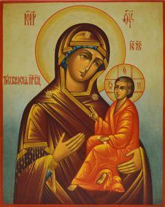 Рукописная икона Тихвинская под старину купить с доставкой
