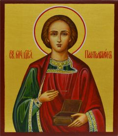 Рукописная икона Пантелеймон 3 (Размер 9*10.5 см)