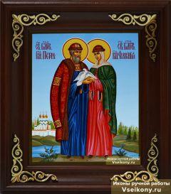 Рукописная икона Петр и Феврония 40 купить с доставкой