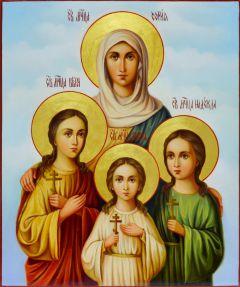Рукописная икона Вера Надежда Любовь и Мать их София 3