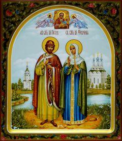 Рукописная икона Петр и Феврония 48 купить с доставкой