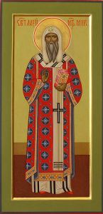 Рукописная икона Святой Алексий Московский купить с доставкой