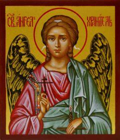 Рукописная икона Ангел Хранитель 12 купить с доставкой