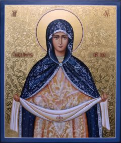 Рукописная икона Покров Пресвятой Богородицы 5