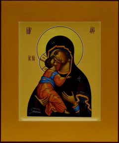 Рукописная икона Владимирская (Андрея Рублева) 4
