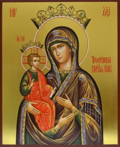 Рукописная икона Троеручица 3