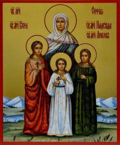 Рукописная икона Вера Надежда Любовь и Мать их София 5
