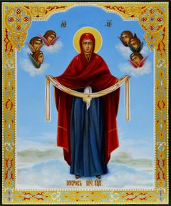 Рукописная икона Покров 6