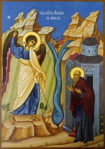 Рукописная икона Чудо Архангела Михаил в Хонех