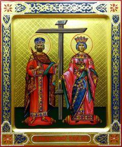 Рукописная икона Константин и Елена 2
