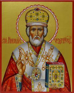 Рукописная икона Николай Мирликийский Чудотворец 11