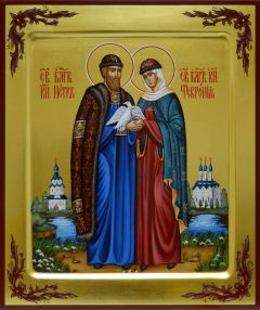 Рукописная икона Петр и Феврония на золоте с ковчегом 53
