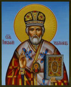 Рукописная икона Николай Чудотворец 13