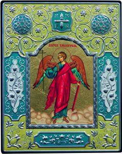 Греческая икона Ангел Хранитель с эмалью