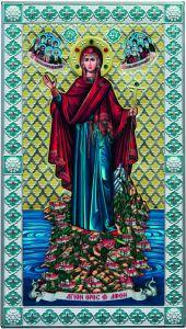 Греческая икона Игуменья Горы Афонской с эмалью