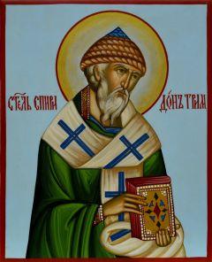Рукописная икона Спиридон Тримифунтский под старину 6