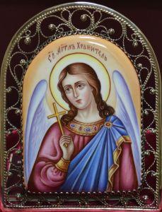 Икона из финифти Ангел Хранитель 2