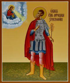 Рукописная икона Христофор Псеглавец