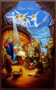 Рукописная икона Рождество Христово 5