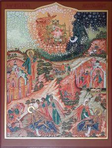 Рукописная икона Иов Многострадальный с житиями